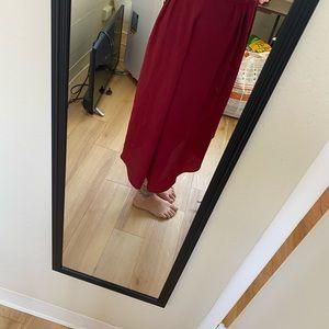 Red uneven skirt